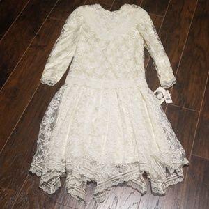 Vintage Jessica McClintock white lace dress size 8